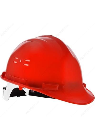 Essafe 1548 Ce'li Enseden Ayar Mekanizmalı Hava Delikli Kulaklık Takılabilir Baret Kırmızı