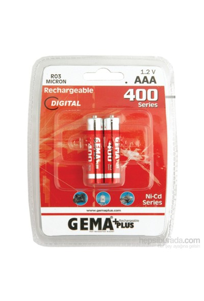 Gemaplus 1.2V 400MAH AAA - Şarjlı Pil - 2'li Blister Paket