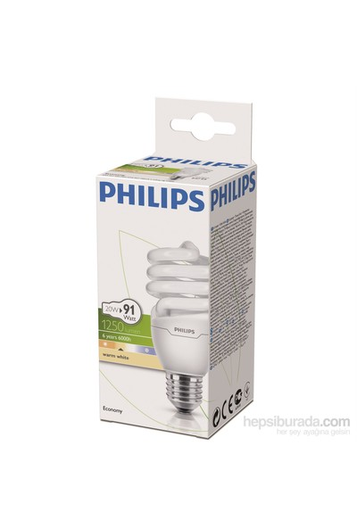 Philips EconomyTwister 20W Sarı Işık Normal Duy