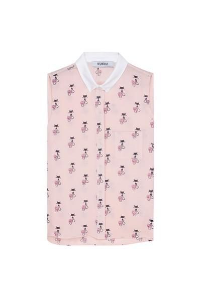 Nisantash Kedi Figürlü Kolsuz Gömlek