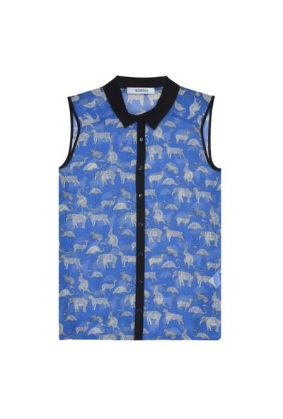Nisantash Hayvan Figürlü Kolsuz Gömlek