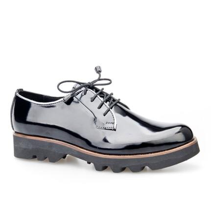 Cabani Bağcıklı Günlük Kadın Ayakkabı Siyah Acma Deri