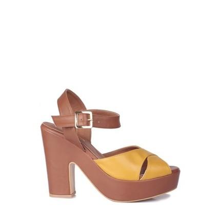 Loggalin 520909 031 169 Kadın Taba Sarı Platform Ayakkabı