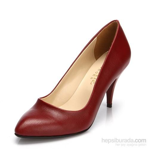 Sothe MAS-017 Bordo Bayan Klasik Topuklu Ayakkabı