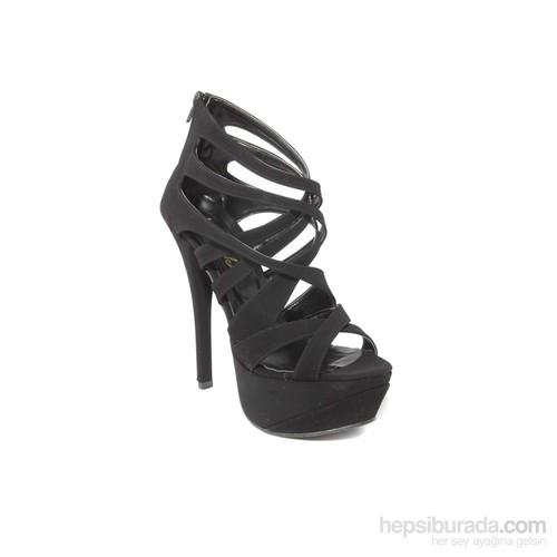 İnce Topuk Kadın Topuklu Ayakkabı Siyah Süet