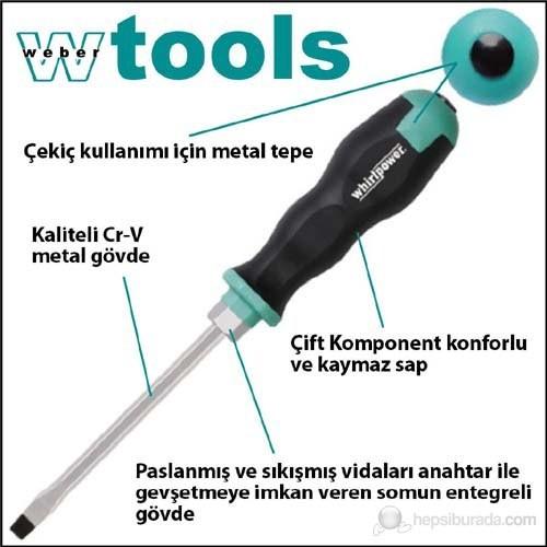 Weber Tools Düz Uçlu Tornavida 5.5 X 100 Mm Somunlu Gövde Ve Metal Tepeli