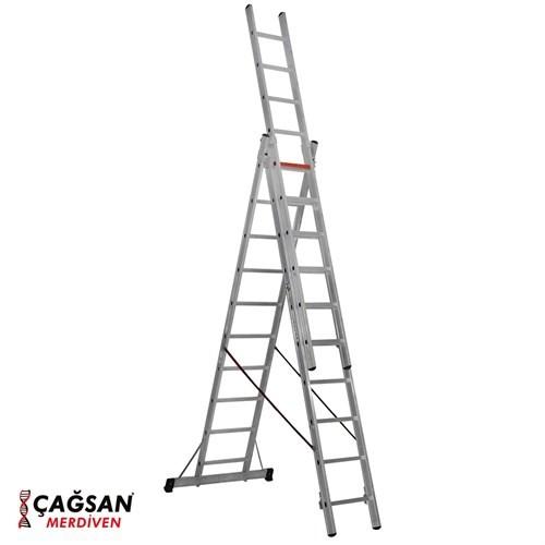 Çağsan 3x10 Basamaklı Üç Parçalı Çok Amaçlı Alüminyum Merdiven