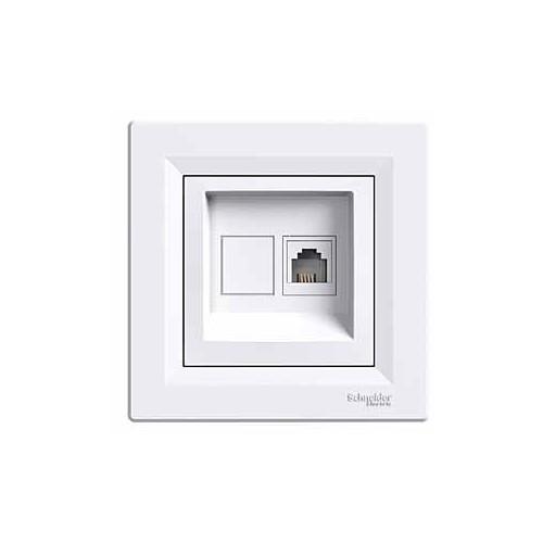 Schneider Electric Asfora 1*Rj11 Beyaz Çerçeveli