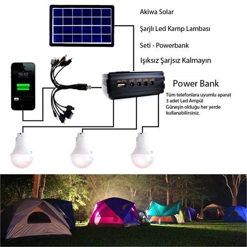 Akiwa Led Kamp Lambası Seti Solar Şarjlı