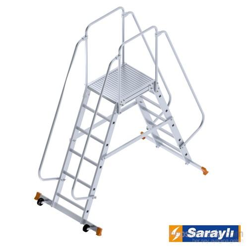 Saraylı Çift Yönlü Korkuluklu Taşınabilir Tekerlekli Platform Merdiven 8605