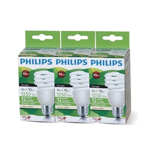 Philips Tornado Spiral 20W/827 E27 2BL3 - 3'lü Paket - Sarı Işık