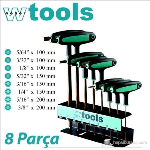 Weber Tools T Saplı Top Başlı Allen Seti 8 Parça (İnç)