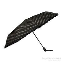 Pierre Cardin Siyah Desenli Kenar süslü Kısa Tip Otomatik Şemsiye