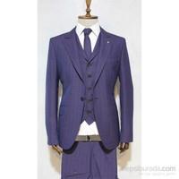 Victor Baron Yeni Sezon Ekoseli Yelekli Kravatli Takım Elbise Mor