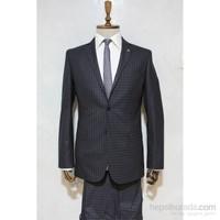 Victor Baron Yeni Sezon Kareli Slim Fit Takım Elbise Lacivert - Kahverengi