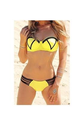Angelsin Ms41833-3 Sarı Şık Tasarımlı Bikini