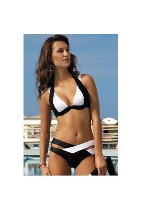 Angelsin Ms41249 Siyah Beyaz Özel Tasarım Bikini