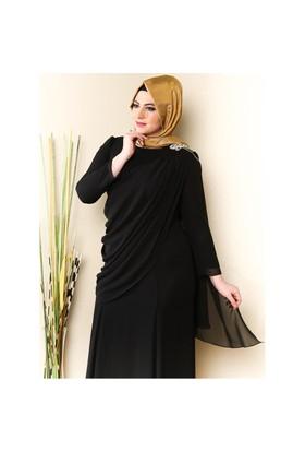 Üzeri Tül Detaylı Omuzu Taşlı Elbise - Siyah - Sevdem