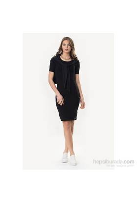 So Sugar Siyah 3/4 Kısa Kol Midi Elbise