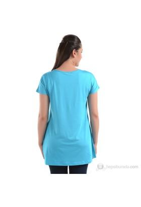 Sistas Bisiklet Yaka Kadın Penye Bluz Mavi