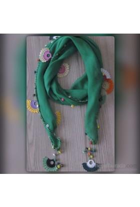 Pafuli El Oyası Boncuklu Etnik Fular Yeşil