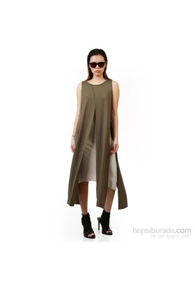 Demoda Çift Kat Yelekli Elbise