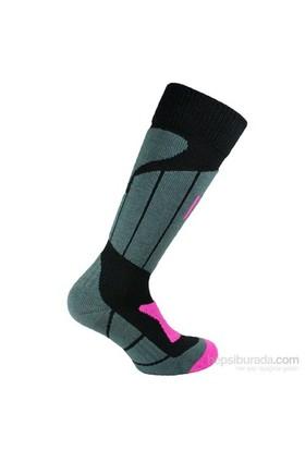 Norfolk Kadın Kayak Çorabı Siyah Pembe