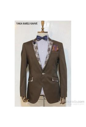 Victor Baron Yeni Sezon Yaka Kareli Model Blazer Ceket