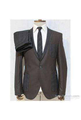Victor Baron Yeni Sezon Torba Cep Model Takım Elbise Kahverengi