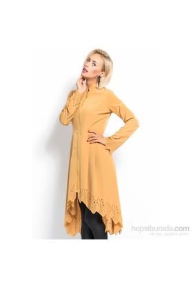 İroni Etek Ucu Ve Kol Ağzı Lazerli Sarı Ceket
