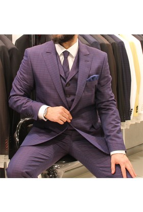 Victor Baron Ekoseli Yelekli Kravatli Takım Elbise