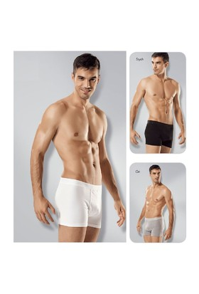 Seher 6'Lı Paket Likralı Pamuk Erkek Boxer Beyaz