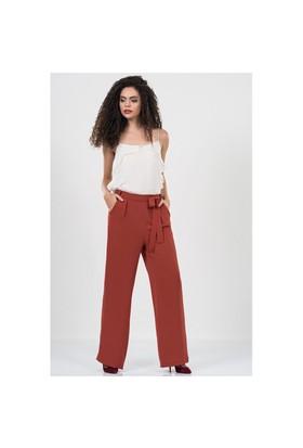 İroni Beli Kiremit Kuşaklı Bol Pantolon