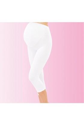 İmer Premium Modal Hamile Kapri Tayt Beyaz