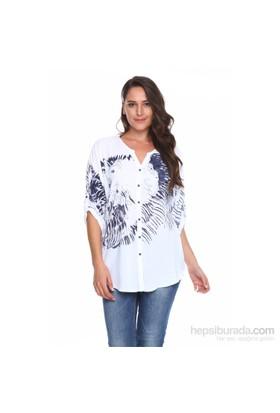 Drop Baskılı Gömlek - Beyaz - Zer Otantik