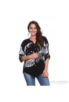 Drop Baskılı Gömlek - Siyah - Zer Otantik