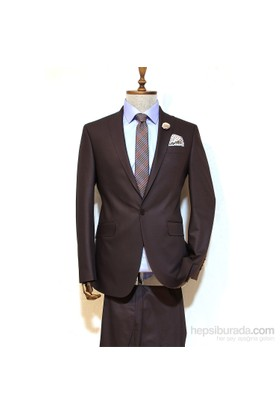 Victor Baron Yeni Sezon Slim Fit Takim Elbise Kahverengi