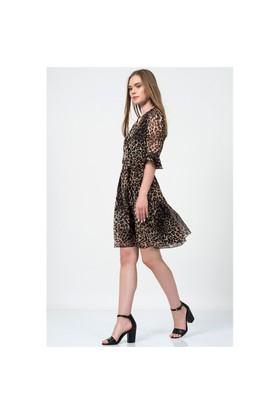 İroni İspanyol Kol Leopar Şifon Elbise