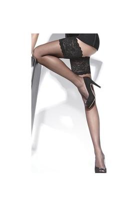 Merry See Siyah Düz Silikonlu Dantelli Jartiyer Çorap