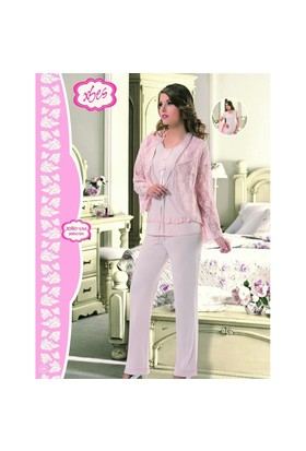 Xses Bayan Üçlü Pamuklu Pijama Lizöz Takım