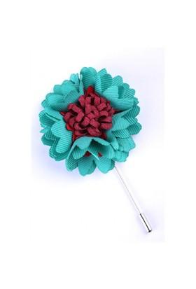 La Pescara Turkuaz-Bordo Özel Tasarım Yaka Çiçeği Yc0057