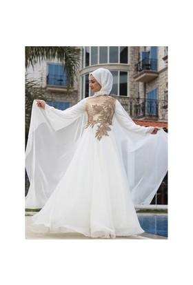 Angel Abiye Elbise - Ekru - Minel Aşk