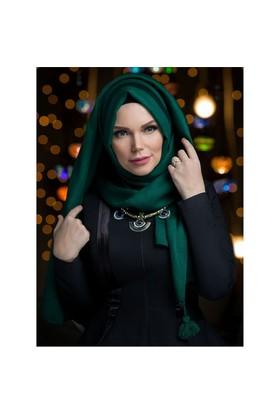 Queen Püsküllü Şal - Zümrüt Yeşi·L - Muslima Wear