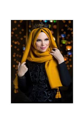 Queen Püsküllü Şal - Altin Sari - Muslima Wear