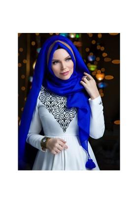 Queen Püsküllü Şal - Saks Mavi· - Muslima Wear