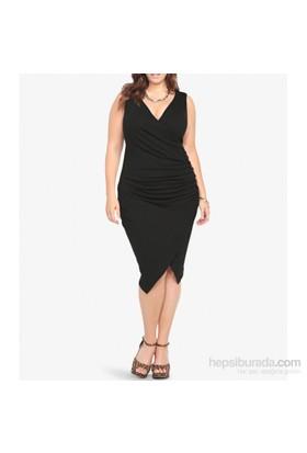 Melisita Manuela Büyük Beden Siyah Elbise
