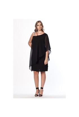 Melisita Sofia Büyük Beden Siyah Abiye Elbise