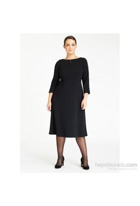 Melisita Astrid Büyük Beden Siyah Elbise