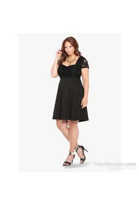 Melisita Elisa Büyük Beden Siyah Elbise