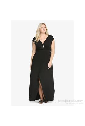 Melisita Tamara Büyük Beden Siyah Elbise